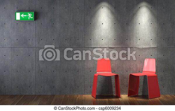 parete, moderno, concreto, disegno, cahirs, interno, rosso - csp6009234