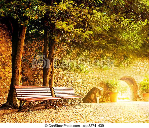 parete, panca, fronte, pietra, italia, parco - csp83741439