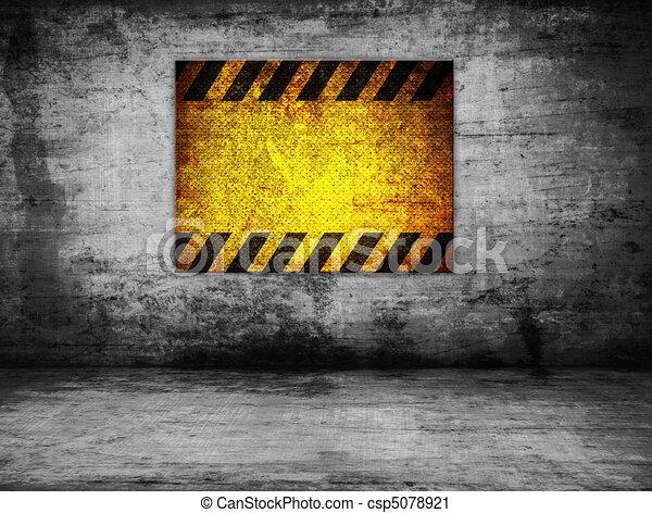 parete, pericolo, vecchio, segno - csp5078921