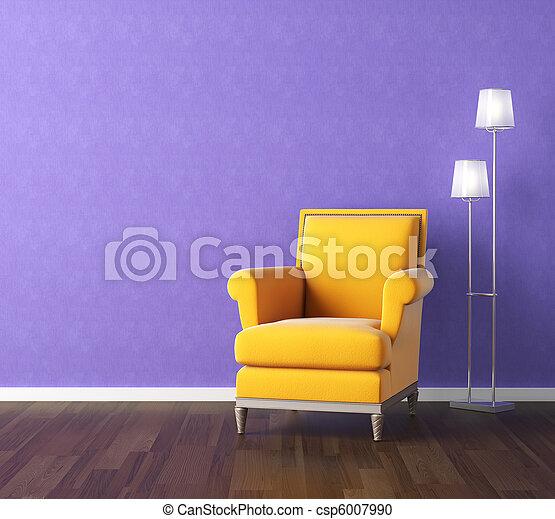 parete, poltrona, giallo, viola - csp6007990