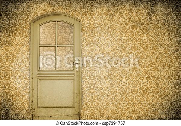 parete, porta, vecchio - csp7391757