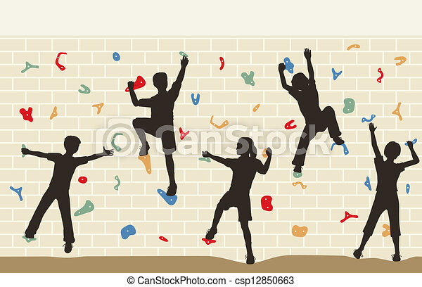 parete, rampicante, bambini - csp12850663