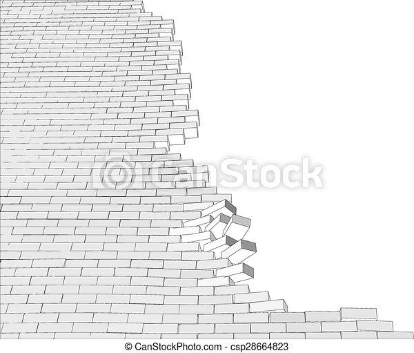 parete, rotto, bianco - csp28664823