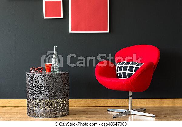 parete, sedia, nero - csp48647060