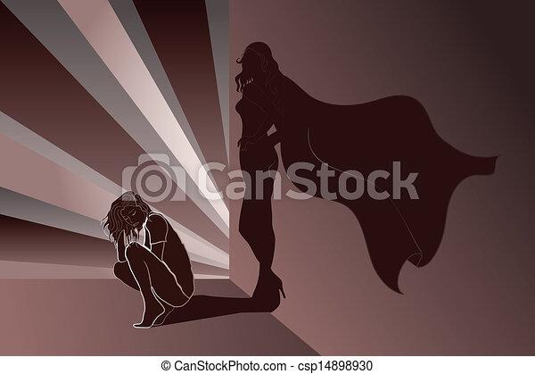 parete, superhero's, donna ombra, triste - csp14898930