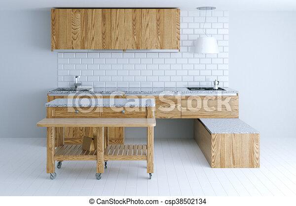Parfait Furniture Render Bois Idée Conception Intérieur Devant Vue Cuisine 3d