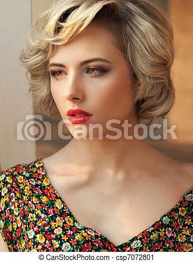 parfait, portrait, blond, beauté - csp7072801