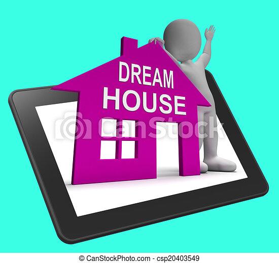 parfait, prope, tablette, maison, concevoir, conclusion, maison, rêve, ou, spectacles - csp20403549