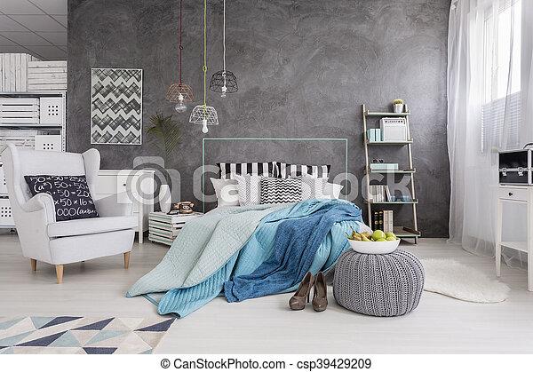Parfait, unique, femme, moderne, chambre à coucher. Décoratif, style ...