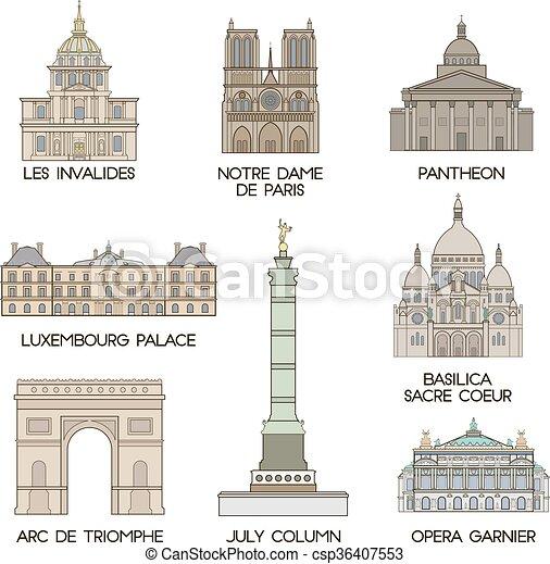 parigi, famoso, places. - csp36407553