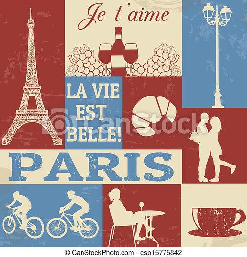 parigi, simboli, manifesto - csp15775842