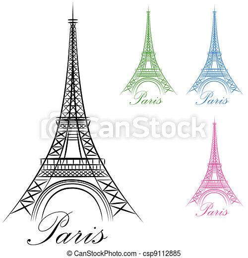 parigi, torre, eiffel, icona - csp9112885