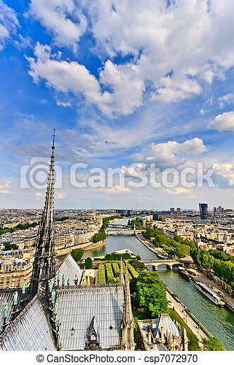 parijs, dame notre, aanzicht, frankrijk - csp7072970