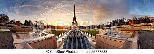 parijs, panorama, toren, eiffel, zonopkomst - csp25777533