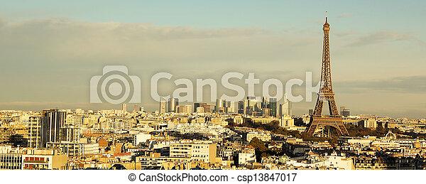 parijs, toren, aanzicht, panorama, eiffel - csp13847017