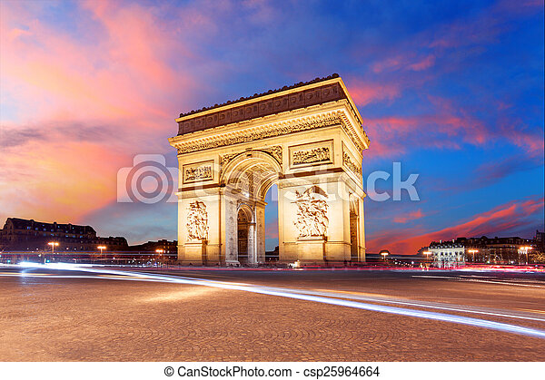 Paris, Arc de Triumph, France - csp25964664