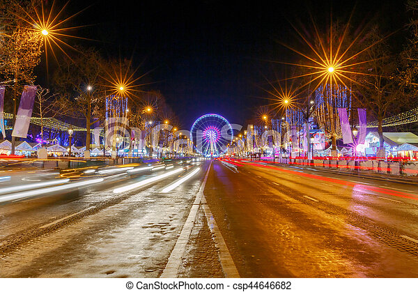 Christmas Paris France.Paris Avenue Champs Elyseesat Night