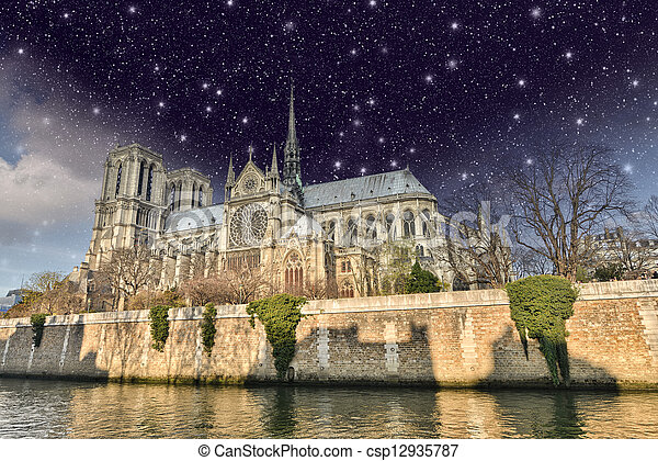 Paris Beautiful Night View Of Notre Dame Cathedral And Seine River