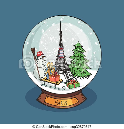 Vintage Christmas Snow Globes.Paris Christmas Snow Globe