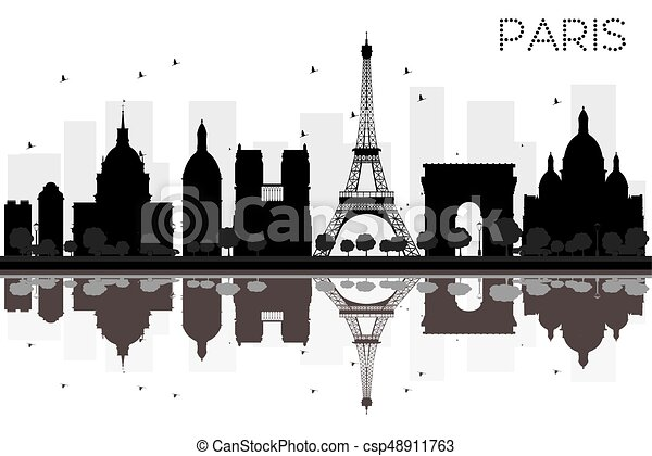 Paris City Skyline Black And White Silhouette With Reflections