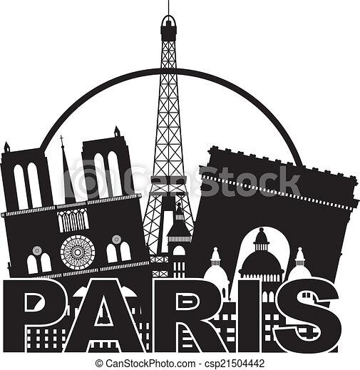 Paris City Skyline Silhouette Circle Black And White Illustration Paris France City Skyline Outline Silhouette Black In