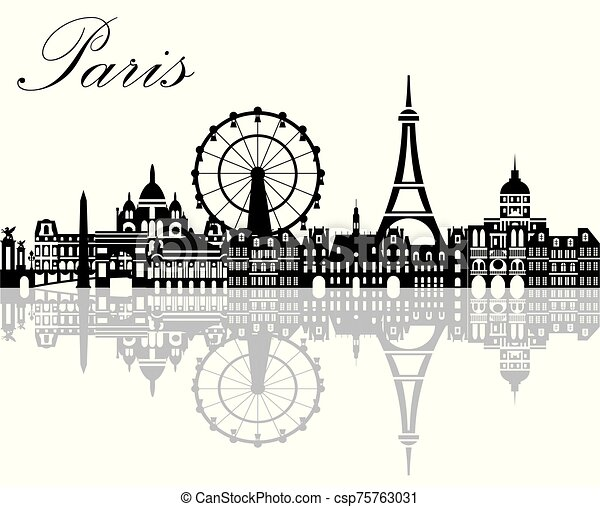 Paris City Skyline Vector 2 Panoramic Paris City Skyline With Reflection Of City Vector Illustration In Black And White