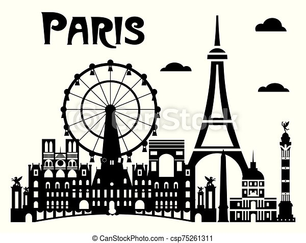 Paris City Skyline Vector 7 Paris City Skyline Vector Illustration In Black And White Colors Isolated On White Background