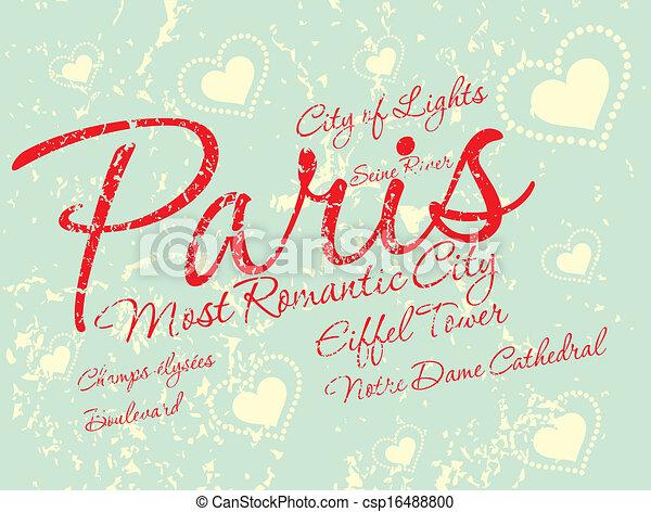 paris city slogan vector art - csp16488800