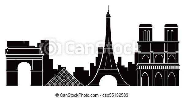 Paris Cityscape Silhouette Image Vector Illustration Design