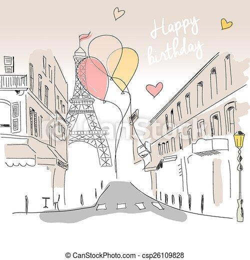 Paris Eiffel Main Anniversaire Rue Ballons Dessine Tour Carte Heureux Vecteur Paris Eiffel Illustration Main Canstock