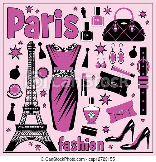 Paris Fashion Set Of Images Different Accessories Clipart
