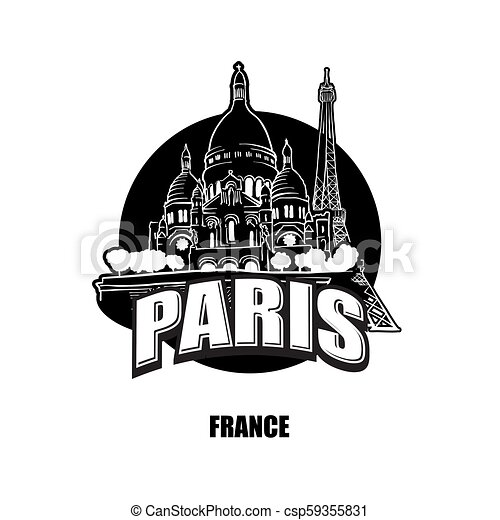 Paris France Black And White Logo For High Quality Prints Hand Drawn Vector Sketch