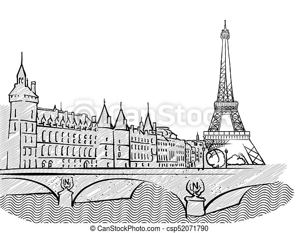 paris france famous travel sketch lineart drawing by hand