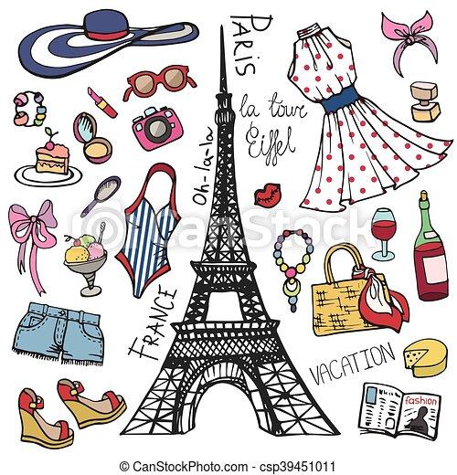 Paris France Fashion Summer Setwomangirl Colored Wear Fashion