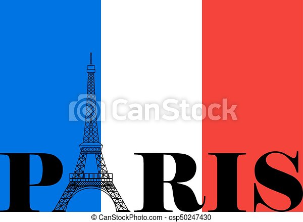 paris france flag silhouette french flag with paris and eiffel