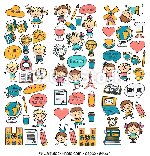 paris france french class french language boys and girls small rh canstockphoto com Spanish Class Clip Art Gym Class Clip Art