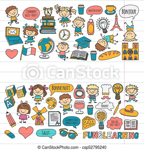 paris france french class french language boys and eps vector rh canstockphoto ie French Speaker Clip Art French Artist Clip Art