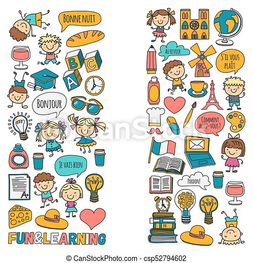 paris france french class french language boys and girls small rh canstockphoto com French Clip Art for Teachers France Clip Art