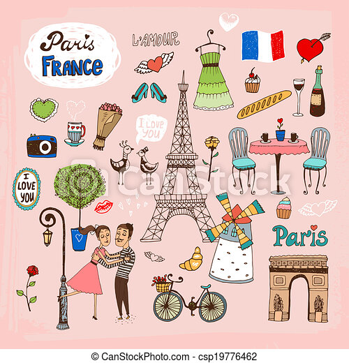 set of hand drawn paris france landmarks and icons with lovers the rh canstockphoto com French Border Clip Art Paris Passport Stamp Clip Art