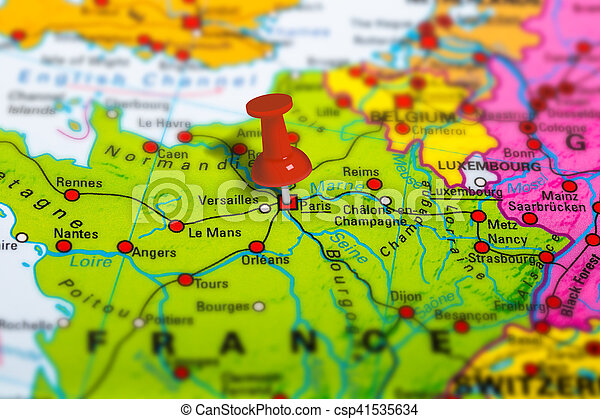 Paris France Map Paris In France Pinned On Colorful Political Map
