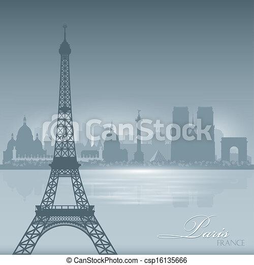 Paris France skyline city silhouette background - csp16135666