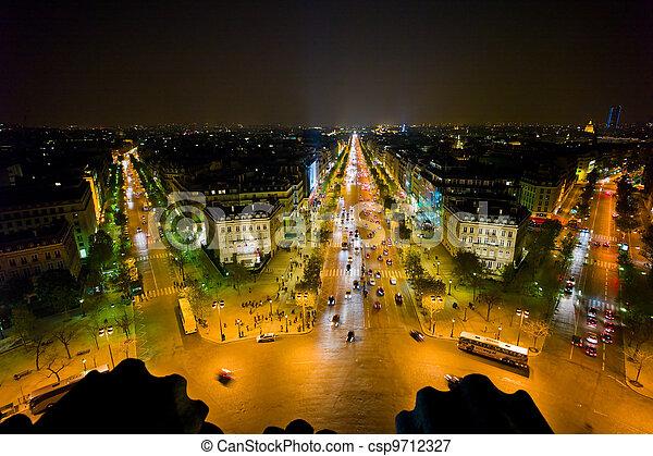 paris, france. view from the arc de triomphe - csp9712327