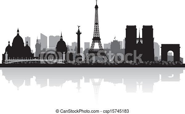 paris, horizon ville, silhouette, france - csp15745183