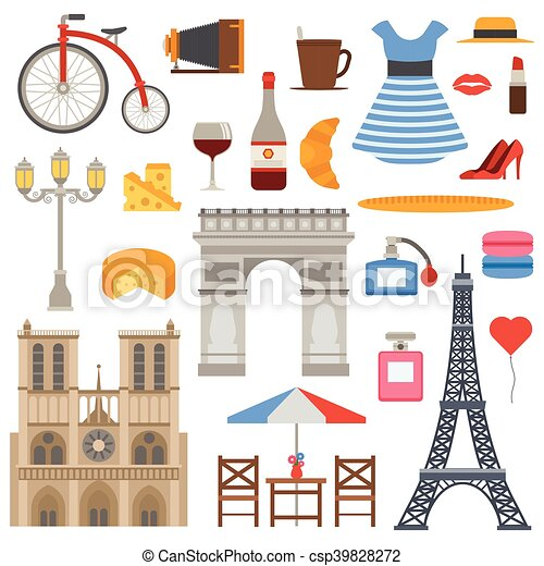 Paris icons vector set. - csp39828272