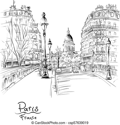 Paris In The Winter Morning France Vector Black And White Hand Drawing Bridge Across River Seine Pont Louis Philippe Near
