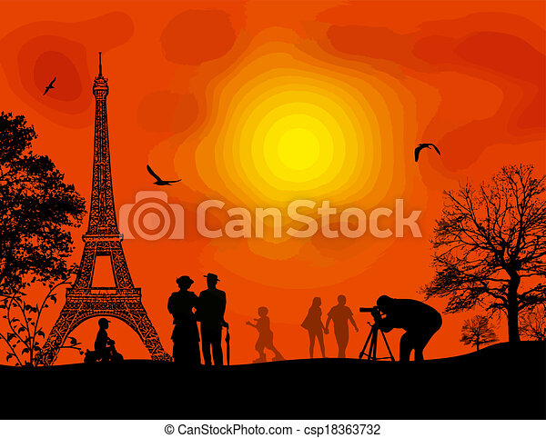 Paris on beautiful orange sunset - csp18363732