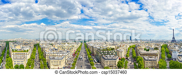 Paris, panoramic aerial view of Champs Elysees and other building landmarks - csp15037460