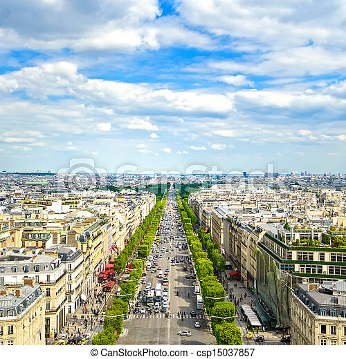 Paris, panoramic aerial view of Champs Elysees. France - csp15037857