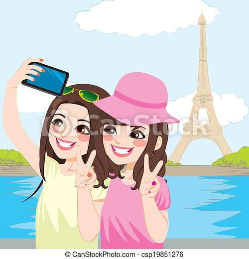 paris, selfie, amis, japonaise - csp19851276