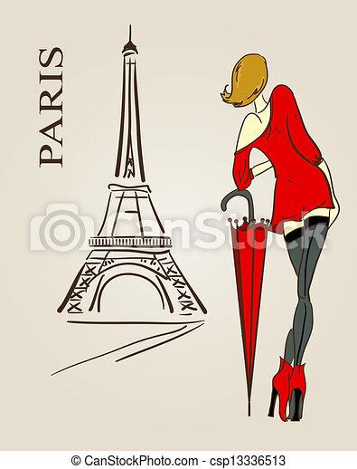 paris, skizze - csp13336513